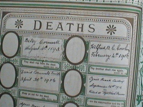 Cyril Cowling's death recorded in the Cowling Family Bible